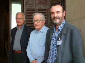 UA professor Massimo Piattelli-Palmarini and Pello Salaburu of the University of the Basque Country with Noam Chomsky (center) at an international conference in San Sebastian, Spain in 2008.
