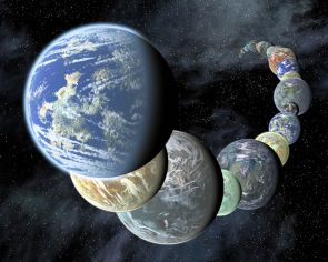Artist concept showing a montage of terrestrial worlds that may form around neighboring sun-like stars. (Credit: NASA/JPL-Caltech/R.Hurt(SSC-Caltech)