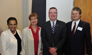 Marilyn Salenger, friend of the College of Social and Behavioral Sciences; Carolyn Lukensmeyer, director of the UA National Institute for Civil Discourse; Brint Milward, director of the School of Government and Public Policy; and John Paul Jones III, dean of the College of Social and Behavioral Sciences.
