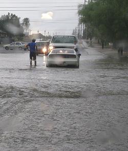 Monsoon-stalled car