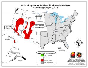 (Click image to enlarge) Significant fire potential is above normal for parts of Arizona and New Mexico this summer.