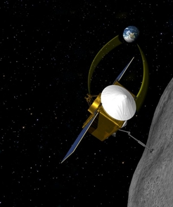 OSIRIS-REx will rendezvous with an asteroid, extend a sample collecting device and return pristine material to Earth for analysis. Many UA students are involved in the project. (Image: NASA/GSFC/The University of Arizona