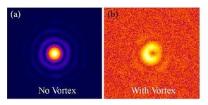 "During their work with the optical vortex lens, the UA-led team of scientists was able to reduce the light of a star located in binary system by 97 percent. The image on the left was taken with the vortex lens removed, showing a nearly ""ideal"" image. The one on the right was taken with the vortex lens on."