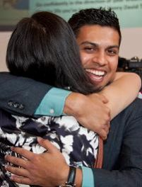 Alpen Patel is congratulated after learning he was selected for the otolaryngology (ear, nose and throat) program at the Mayo Clinic in Phoenix. (Photo by Sun Czar Belous, Media Services, UA College of Medicine-Phoenix)