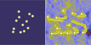 These images are from the computer simulations. The white dots on the left show the starting position of the rocks. The image on the right shows the final spacing of the rocks after the simulation has run. The yellow streaks behind the rocks represent the sand piled up behind the rocks by the wind. (Credit: Jon D. Pelletier, The University of Arizona)