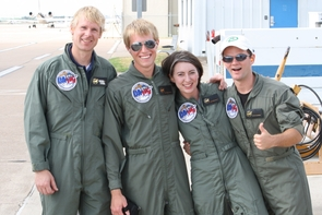 NASA mentor Chris Johnson (left), Sean Gellenbeck, Victoria Blute and Kevin Newman celebrate a successful flight. (Photo courtesy of Kyle Stephens)