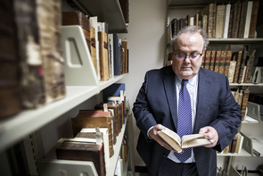 Roger Myers, an associate librarian and archivist at the Special Collections Library, is the co-curator for the First Folio exhibition. (Photo: John de Dios/UANews)