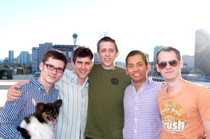 The original Romotive team in Seattle. From left: software designer James Knauer, Dante (the dog), CEO Keller Rinaudo, founder Peter Seid, founder Phu Nguyen and marketing specialist and UA alumnus Zach Buchanan. (Photo by Andrew Seid)