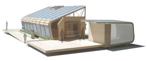 Artist's illustration of the Solar Energy Efficient Dwelling, or SEED[pod] constructed by the UA Solar Decathlon team. (Click to enlarge)