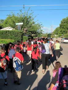 Students and parents participate in walk-to-school event for A.J. Mitchell Elementary School in Nogales. (Photo by Sarah Prasek)