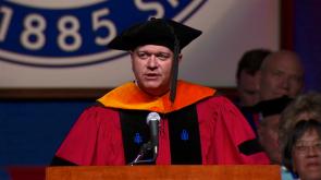 Brian Schmidt, a UA alumnus, spoke during the graduate ceremony on May 11. (Image courtesy of Arizona Athletics)