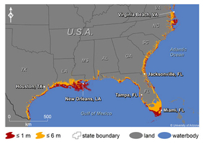 (Click to enlarge) This map shows where increases in sea level could affect the southern and Gulf coasts of the U.S. The colors indicate areas along the coast that are elevations of 1 meter or less (russet) or 6 meters or less (yellow) and have connectivity to the sea.