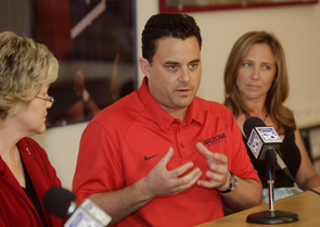 UA men's basketball coach Sean Miller and his wife, Amy, are donating $250,000 for upgrades at McKale Center and Richard Jefferson Gymnasium. (Photo credit: John Brown)