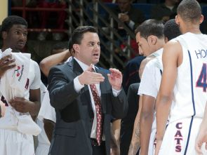 Coach Sean Miller works with the UA basketball team. (Photo courtesy of Arizona Athletics)