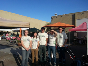 Compost Cats members Madeline Ryder, Taylor Sanders, Scott Appleby, Chet Phillips and Ward Shota Austin selling their compost at the Loft Farmer's Market. The group also partners with the Community Food Bank of Southern Arizona to help fight food insecurity among low-income families in Tucson. (Photo: Braelyn Jane Smith)