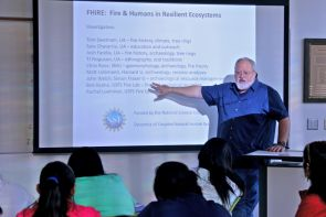 Thomas W. Swetnam, who directs the UA Laboratory of Tree-Ring Research and is from Jemez Springs, shared years of Jemez Pubelo-area research with the Walatowa High Charter School students.
