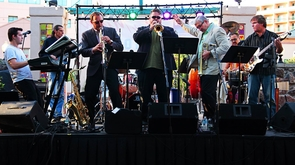 Jay Rees (second from left), a UA School of Music Professor, is a conductor, composer, arranger and performer who has been a member of touring jazz-fusion ensemble Sylvan Street, serving as bassist, leader and composer. (Photo credit: Margie Wrye)