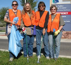 Mayor Diane Joens has been co-chair of Stewards of Public Lands for the past seven years. Besides working with community volunteers to clean up public lands, she also assists The Compassionate Friends with their Adopt a Highway project on Highway 89A near the Verde Valley Medical Center. Members are, from left, Kristina Bonfoey, Joens, Cheryl Oliver and Phyllis Kennedy. (Photo by Gene Bonfoey)
