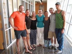 (From the left) Christopher Blue, Aimee Snyder, Zandra Alford, Emily Coyle, Sarah Davis, Andrew Gall and Arthur Basset. Four of the graduate students are from the UA College of Public Health, and two of the students are from the UA College of Architecture and Landscape Architecture School of Landscape Architecture and Planning. Snyder designed the syllabus for the course and has been involved in the planning but will not be traveling with the group.