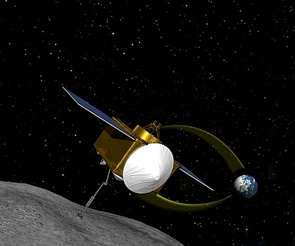 NASA has tasked the UA with leading the OSIRIS-REx mission, slated to rendezvous with asteroid Bennu and return a sample to Earth in 2023. (Illustration: NASA/GSFC/UA)