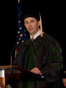 Zach Ortiz, the student speaker, at graduation.