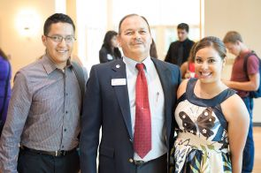 Oscar Luján (center) with Jose Estrada and UA Honors College student Gladys Amaya, UAHA scholarship recipients and Society of Hispanic Professional Engineers members, during the UA Alumni Association Scholarship Celebration, which was held in September. (Photo credit: Jacob Chinn)