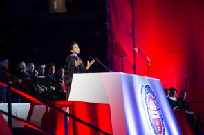 """This is your time. Embrace it and walk in it. Be positive and encourage others to live with boldness, fearlessness and grit,"" Anna Maria Chávez, CEO of the Girl Scouts of the USA and keynote speaker, told the graduates. (Photo credit: Jacob Chinn/UA Alumni Association)"