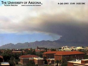 The Arizona Webcam, located at Gould-Simpson and run by the UA's computer science department, captured the 2003 Aspen Fire, which burned about one month in the Santa Catalina Mountains.