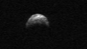 (Click image to enlarge) A radar image of asteroid 2005 YU55 taken by the Arecibo radio telescope in Puerto Rico. (Image: NASA/Cornell/Arecibo)