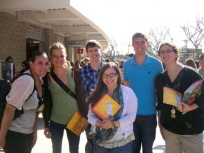 UA students traveled to San Diego to attend the Dalai Lama's lecture as the first trip of the Honors College's new field trip program. Louise Williams (at right), who is double majoring in religious studies and philosophy, organized the trip. (Photo courtesy of Louise Williams)