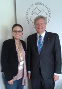 Nobel Laureate Brian Schmidt, a 1989 UA graduate in physics and astronomy, and Alaina G. Levine, a 1996 UA graduate of mathematics and 1997 UA graduate of anthropology, together during the Lindau Nobel Laureate meeting in Germany last week.