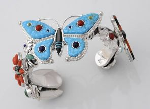 """Arizona State Museum's 19th Annual Southwest Indian Art Fair 2012 Award of Excellence in Jewelrywent to Ernest Benally, Navajo/Diné and his """"Butterfly Cuff."""" Other award winners and their works are exhibited online. (Photo credit: Jannelle Weakly)"""