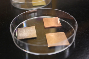 The researchers tested the survivability of Salmonella on six different copper alloys. Bacteria die out on surfaces containing copper much more quickly than on stainless steel surfaces, owing to the antibacterial properties of copper.