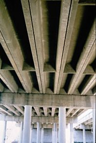 Bridge crevices make ideal bat maternity wards. Biologists enlist cooperation from Tucson transportation officials in protecting bat colonies that form here. (Photo: Sandy Wolf)