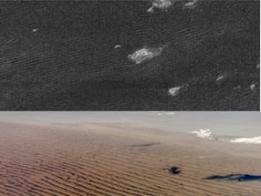 Cassini radar sees sand dunes on Saturn's giant moon Titan (upper photo) that are sculpted like Namibian sand dunes on Earth (lower photo). The bright features in the upper radar photo are not clouds but topographic features among the dunes. (Photo: NASA/JPL - upper photo; NASA - lower photo)