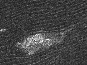 Detail from a Cassini radar image of sand dunes on Titan. (Photo: NASA/JPL)