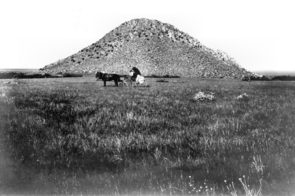 Repeat photography is one of the tools range ecologists use to document how lands change: In 1902, photographer David Griffiths' horse-drawn buggy was clearly visible in the open grassland, surrounded by scattered desert hackberry plants at the foot of Huérfano Butte. (Photo by D. Griffiths; provided by M. McClaran)