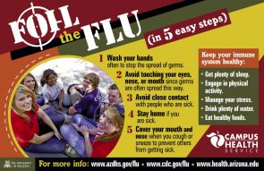 "(Click to enlarge) This poster can be downloaded from the ""Flu News"" area of the Campus Health Service site, www.health.arizona.edu."
