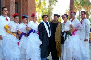 Mexican American studies professors Lydia Otero and Yolanda Broyles-Gonzalez with a local ballet folclórico group at the annual UA Hispanic Convocation. The department will begin accepting applications for its new doctoral program in 2013.