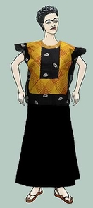 Online visitors can dress the Mexican artist Frida Kahlo in a variety of traditional dresses. Here, she wears the Huipil style Zapotec blouse. Black commercial cloth with yellow and red plaid machine overstitiching. A gift of Wanda Hill. Collected 1945-50. Frida Paper Doll by Rhod Lauffer.