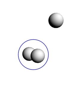 However, in the presence of the radiation that pervades interstellar space, H3+ can gain energy that causes it to vibrate and lose its symmetry. Here, the electrons are shared among only two of the hydrogen atoms. Asymmetries such as these allow the molecule to emit light and cool down forming stars. (Image courtesy of Michele Pavanello)