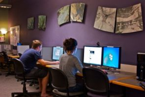 Architecture students Erik Lindberg and Ani Hassan Jalalian visit the Office of Student Computing Resources Multimedia Zone to use the high-end graphics software, also provided by University Information Technology Services. (Photo courtesy of Alexander Ganz)