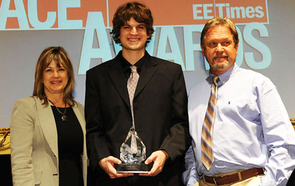 Student of the Year Matt Bunting at the ACE awards with parents Terri and Wade Bunting.