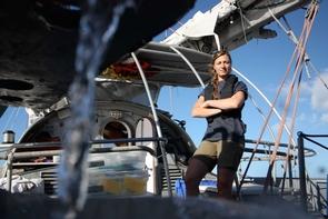 Melissa Duhaima on deck of the expedition ship, Tara. (Photo: Anna Deniaud/Tara Oceans)