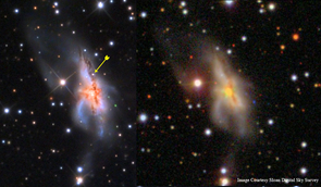 Adam Block spotted the supernova (arrow) when he compared his image of the galaxy to others that were taken before the star exploded. (Photo: Sloan Digital Sky Survey/Adam Block)