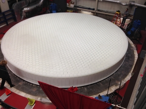 GMT3 measures 25 feet in diameter. Seven of these mirrors will combine to form the primary mirror surface of the world's largest telescope ever built. (Photo: Carina Johnson/UANews)