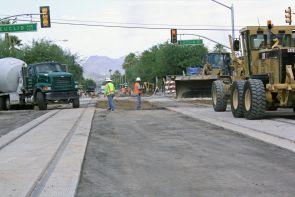 The Tucson Modern Streetcar construction site.