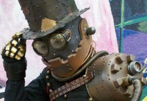 "The Gentleman Robot, a creation by Tucson-based steampunk store ""The Foundry,"" featured at ""Maketopolis,"" the inaugural maker fair in Tucson  (Photo courtesy of Maketopolis)"
