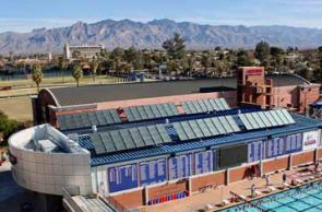 Solar panels on campus buildings are but one of many different strategies to help offset carbon emissions.
