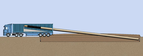 Conception of how Ehsani's mobile pipe-laying truck could create a pipeline of virtually infinite length. (Graphic by Reynard Perrin and Joerg Schmit)